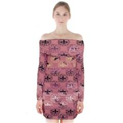 Overlays Pink Flower Floral Long Sleeve Off Shoulder Dress