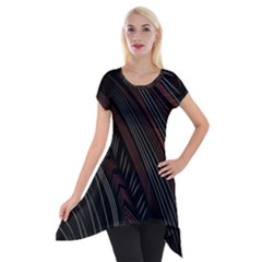 Trailer Drax Line Brown White Chevron Galaxy Space Short Sleeve Side Drop Tunic by Jojostore