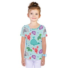 Turtle Crab Dolphin Whale Sea World Whale Water Blue Animals Kids  One Piece Tee by Jojostore