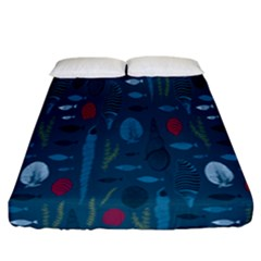 Sea World Fish Ccoral Blue Water Fitted Sheet (california King Size) by Jojostore