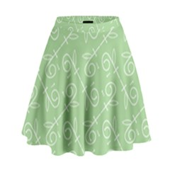 Formula Leaf Floral Green High Waist Skirt by Jojostore