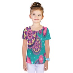 Vintage Butterfly Floral Flower Rose Star Purple Pink Green Yellow Animals Fly Kids  One Piece Tee by Jojostore
