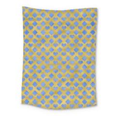 Diamond Heart Card Valentine Love Blue Yellow Gold Medium Tapestry by Jojostore