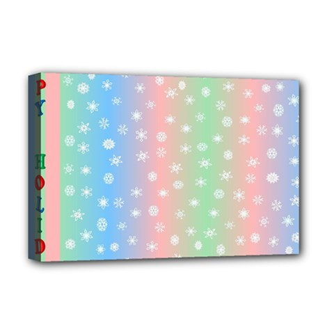 Christmas Happy Holidays Snowflakes Deluxe Canvas 18  X 12   by Nexatart