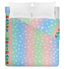 Christmas Happy Holidays Snowflakes Duvet Cover Double Side (Queen Size) by Nexatart