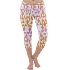 Geometric Abstract Orange Purple Pattern Capri Yoga Leggings