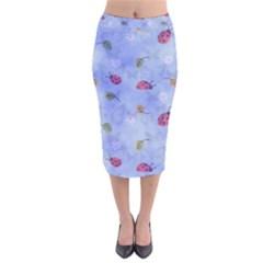 Ladybug Blue Nature Velvet Midi Pencil Skirt by Nexatart