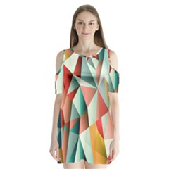 Abstracts Colour Shoulder Cutout Velvet  One Piece by Nexatart