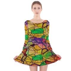 Abstract Squares Triangle Polygon Long Sleeve Velvet Skater Dress by Nexatart