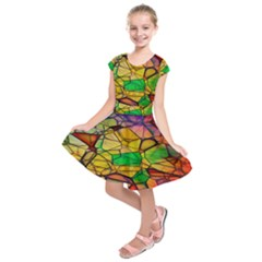 Abstract Squares Triangle Polygon Kids  Short Sleeve Dress by Nexatart