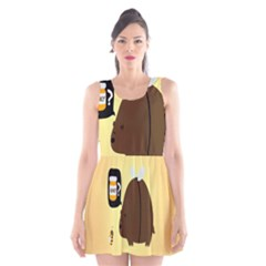 Bear Meet Bee Honey Animals Yellow Brown Scoop Neck Skater Dress by Alisyart