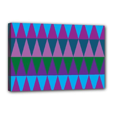 Blue Greens Aqua Purple Green Blue Plums Long Triangle Geometric Tribal Canvas 18  X 12  by Alisyart
