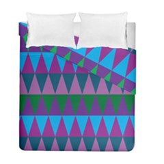 Blue Greens Aqua Purple Green Blue Plums Long Triangle Geometric Tribal Duvet Cover Double Side (full/ Double Size) by Alisyart