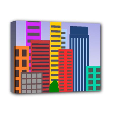 City Skyscraper Buildings Color Car Orange Yellow Blue Green Brown Deluxe Canvas 14  X 11  by Alisyart