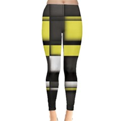 Color Geometry Shapes Plaid Yellow Black Leggings  by Alisyart