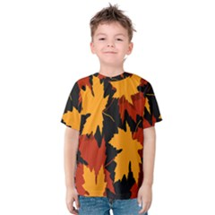 Dried Leaves Yellow Orange Piss Kids  Cotton Tee by Alisyart