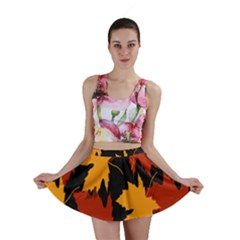 Dried Leaves Yellow Orange Piss Mini Skirt by Alisyart