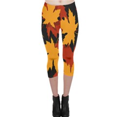 Dried Leaves Yellow Orange Piss Capri Leggings  by Alisyart