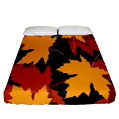 Dried Leaves Yellow Orange Piss Fitted Sheet (queen Size) by Alisyart