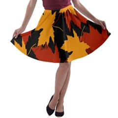 Dried Leaves Yellow Orange Piss A Line Skater Skirt by Alisyart