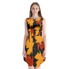 Dried Leaves Yellow Orange Piss Sleeveless Chiffon Dress   by Alisyart