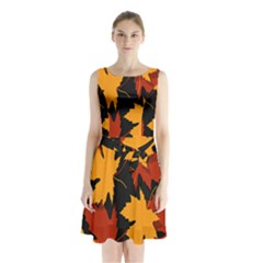 Dried Leaves Yellow Orange Piss Sleeveless Chiffon Waist Tie Dress by Alisyart