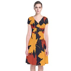 Dried Leaves Yellow Orange Piss Short Sleeve Front Wrap Dress by Alisyart