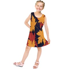 Dried Leaves Yellow Orange Piss Kids  Tunic Dress by Alisyart