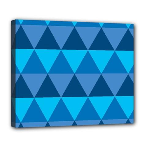Geometric Chevron Blue Triangle Deluxe Canvas 24  X 20   by Alisyart