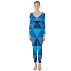 Geometric Chevron Blue Triangle Long Sleeve Catsuit by Alisyart