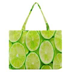 Green Lemon Slices Fruite Medium Zipper Tote Bag by Alisyart