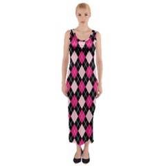 Argyle Pattern Pink Black Fitted Maxi Dress