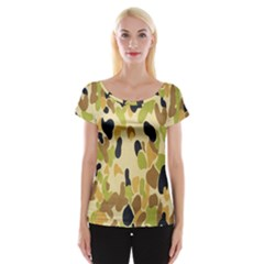 Army Camouflage Pattern Women s Cap Sleeve Top by Nexatart