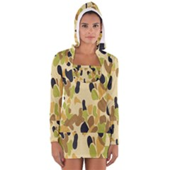Army Camouflage Pattern Women s Long Sleeve Hooded T-shirt by Nexatart