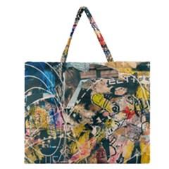 Art Graffiti Abstract Vintage Zipper Large Tote Bag by Nexatart