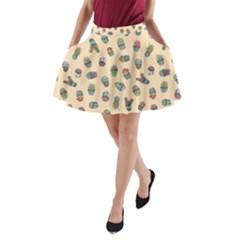 Sweet Succulents A Line Pocket Skirt by electrogiraffe
