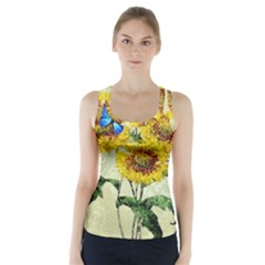 Backdrop Colorful Butterfly Racer Back Sports Top by Nexatart