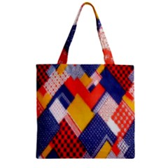 Background Fabric Multicolored Patterns Zipper Grocery Tote Bag by Nexatart