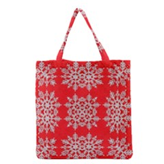 Background For Scrapbooking Or Other Stylized Snowflakes Grocery Tote Bag by Nexatart
