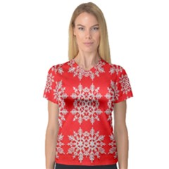 Background For Scrapbooking Or Other Stylized Snowflakes Women s V-Neck Sport Mesh Tee