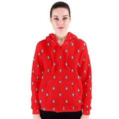 Simple Red Star Light Flower Floral Women s Zipper Hoodie by Alisyart