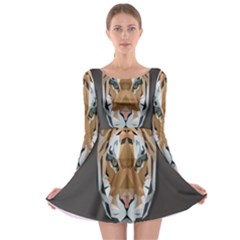 Tiger Face Animals Wild Long Sleeve Skater Dress