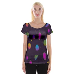Spots Bright Rainbow Color Women s Cap Sleeve Top by Alisyart