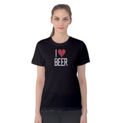 Black i love beer  Women s Cotton Tee