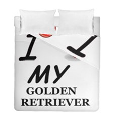 Golden Retriever Love Duvet Cover Double Side (Full/ Double Size) by TailWags