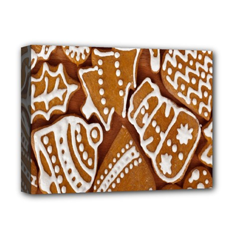 Biscuit Brown Christmas Cookie Deluxe Canvas 16  x 12   by Nexatart
