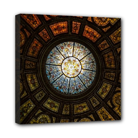 Black And Borwn Stained Glass Dome Roof Mini Canvas 8  X 8  by Nexatart
