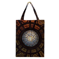 Black And Borwn Stained Glass Dome Roof Classic Tote Bag by Nexatart