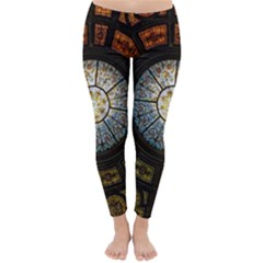 Black And Borwn Stained Glass Dome Roof Classic Winter Leggings by Nexatart