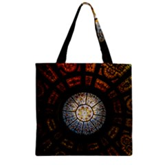 Black And Borwn Stained Glass Dome Roof Zipper Grocery Tote Bag by Nexatart